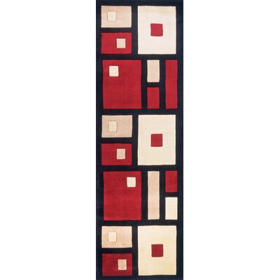 Dunstable Hand-Tufted Black/Red Area Rug Rug Size: Runner 26 x 8