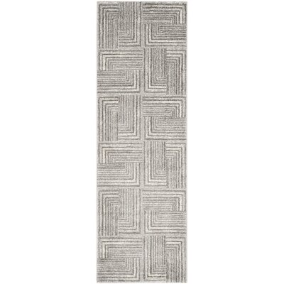 Linneman Contemporary Light Grey/Dark Grey Area Rug Rug Size: Rectangle 27 x 5