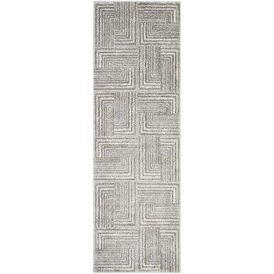 Linneman Contemporary Light Grey/Dark Grey Area Rug Rug Size: Runner 27 x 5