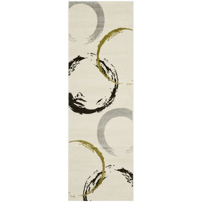Kenzo Ivory/Green Area Rug Rug Size: Runner 27 x 5