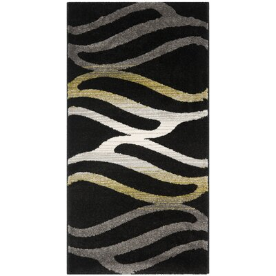 Kenzo Black Area Rug Rug Size: Rectangle 2' x 3'7