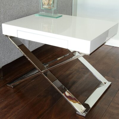 Roreti End Table With Storage Color: White