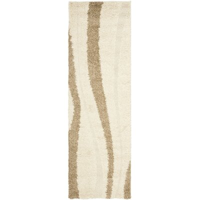 Mika Creme & Beige Area Rug Rug Size: Runner 23 x 9