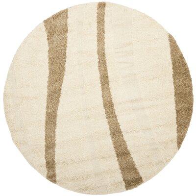 Drennen Creme & Beige Area Rug Rug Size: Round 67