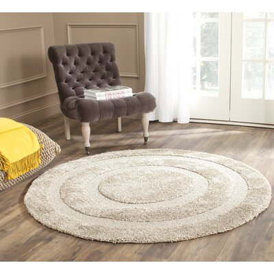 Mika Creme Area Rug Rug Size: Round 5