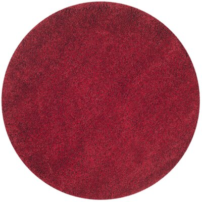 Rowen Red Area Rug Rug Size: Round 4