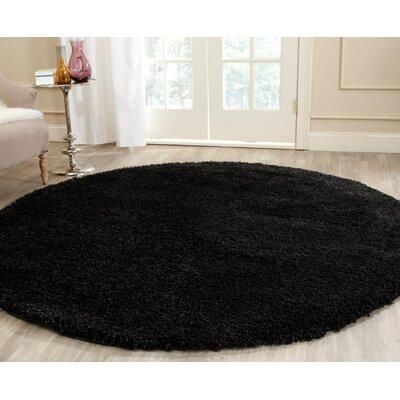 Rowen Black Area Rug Rug Size: Round 4
