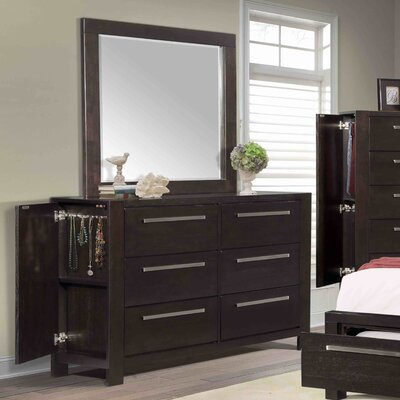 Theodor 6 Drawer Double Dresser with Mirror