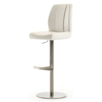 Gerardo Adjustable Height Bar Stool Upholstery: White