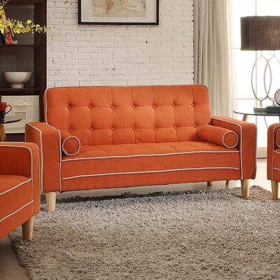 Navi Twill Loveseat Upholstery: Orange