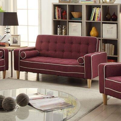 Navi Twill Loveseat Upholstery: Berry