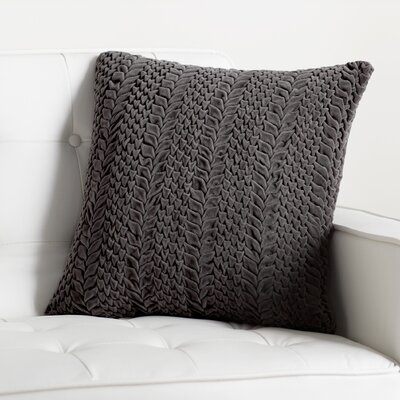 Stoney Littleton Textured Triangles Cotton Throw Pillow Color: Pewter, Size: 18 H x 18 W, Filler: Down