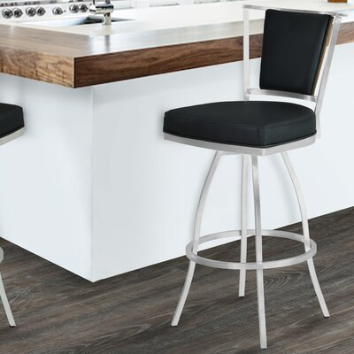 Borrelli 26 Swivel Bar Stool Upholstery: Black