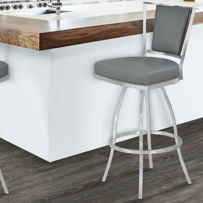 Westminster 26 Swivel Bar Stool with Cushion Upholstery: Gray