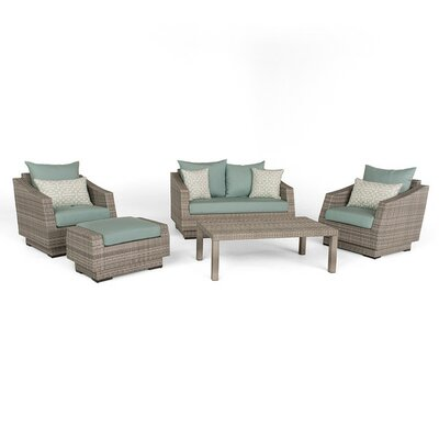 Alfonso 5 Piece Deep Seating Group with Cushion Fabric: Spa Blue