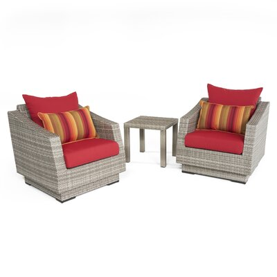 Alfonso 3 Piece Deep Seating Group with Cushion Fabric: Sunset Red