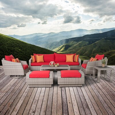 Greenfield Deluxe 8 Piece Deep Seating Group Fabric: Sunset Red