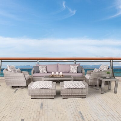 Greenfield Deluxe 8 Piece Deep Seating Group Fabric: Wisteria Lavender