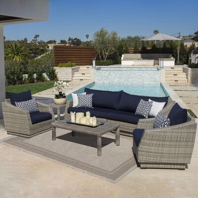 Alfonso 5 Piece Deep Seating Group with Cushion Fabric: Navy Blue