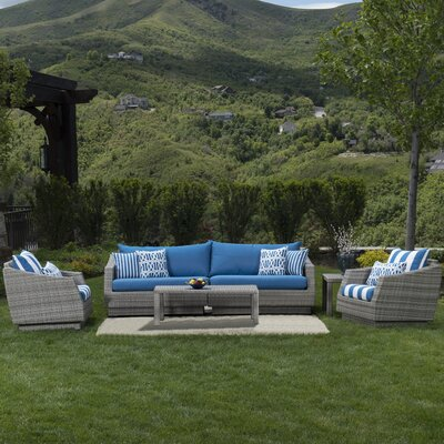 Alfonso 5 Piece Deep Seating Group with Cushion Fabric: Regatta Blue