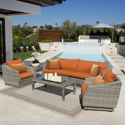 Alfonso 5 Piece Deep Seating Group with Cushion Fabric: Tikka Orange