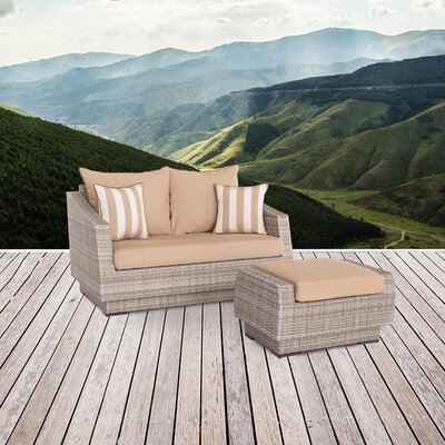 Alfonso Loveseat and Ottoman with Cushions Fabric: Maxim Beige