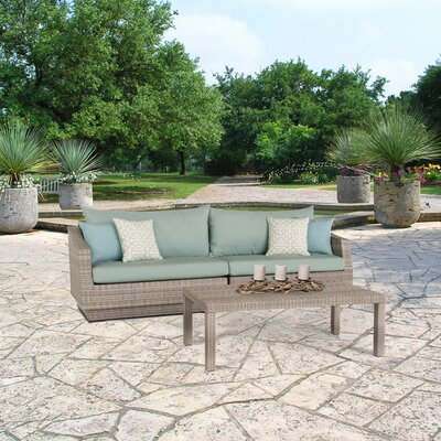 Alfonso 2 Piece Deep Seating Group with Cushion Fabric: Spa Blue