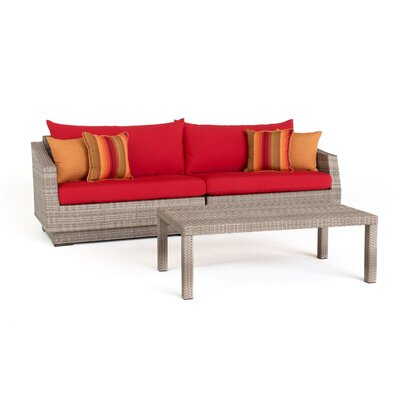 Alfonso 2 Piece Deep Seating Group with Cushion Fabric: Sunset Red