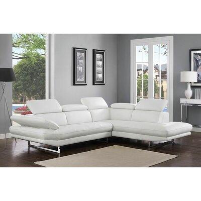 Gridley Leather Sectional Upholstery: White