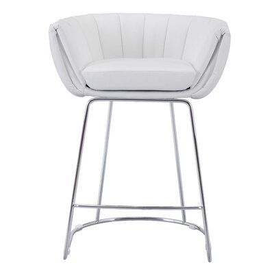 Tangleton Counter Height Bar Chair Upholstery: White