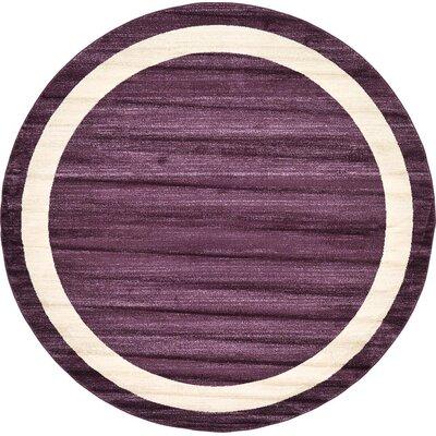 Beverly Purple/Beige Area Rug Rug Size: Round 8