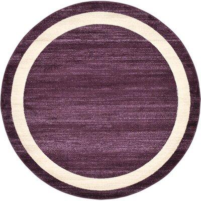 Beverly Purple/Beige Area Rug Rug Size: Round 6