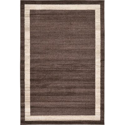 Christi Brown/Beige Color Bordered Area Rug Rug Size: Round 6
