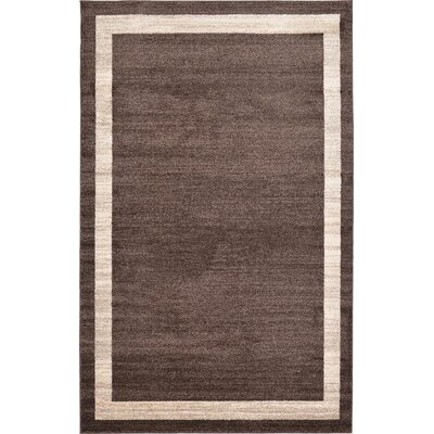 Christi Brown/Beige Color Bordered Area Rug Rug Size: 5 x 8