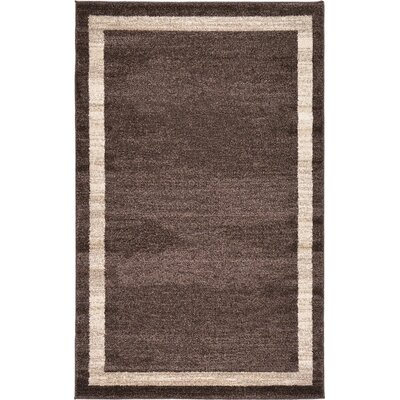 Christi Brown/Beige Color Bordered Area Rug Rug Size: 33 x 53