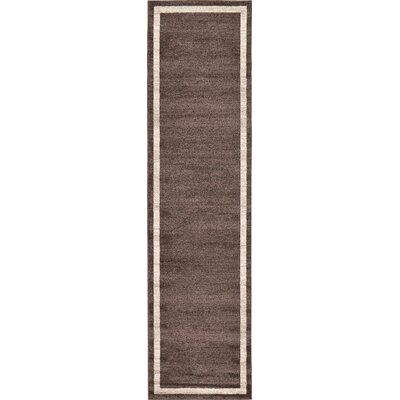 Christi Brown/Beige Color Bordered Area Rug Rug Size: Runner 27 x 10
