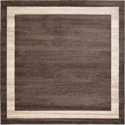 Christi Brown/Beige Color Bordered Area Rug Rug Size: Square 8