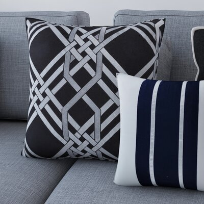 Mora Down Throw Pillow Size: 20 H x 20 W x 4 D, Color: Black/Gray