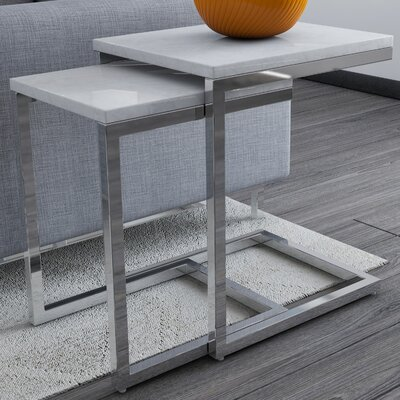 2 Piece Nesting Table Set Finish: White