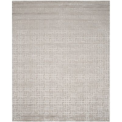 Armstrong Hand-Knotted Gray Area Rug Rug Size: Rectangle 9 x 12