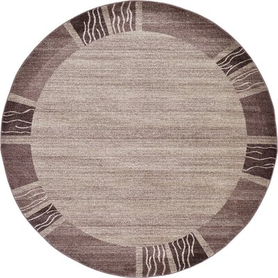 Tiburon Light Brown Area Rug Rug Size: Round 8