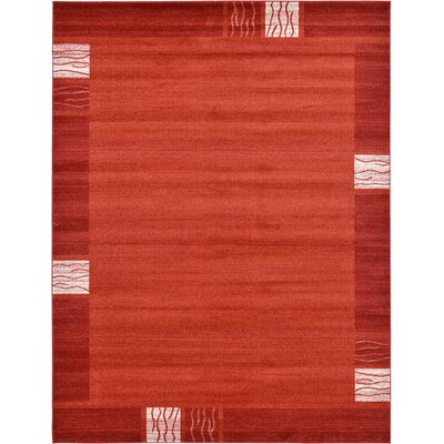 Christi Red Area Rug Rug Size: Round 8