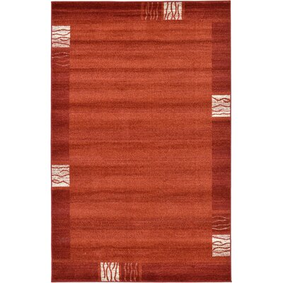 Christi Red Area Rug Rug Size: 33 x 53