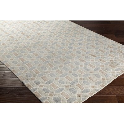 Arline Hand-Knotted Beige/Gray Area Rug Rug Size: Rectangle 9' x 13'