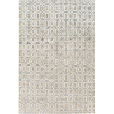 Arline Hand-Knotted Beige/Gray Area Rug Rug Size: Rectangle 6' x 9'