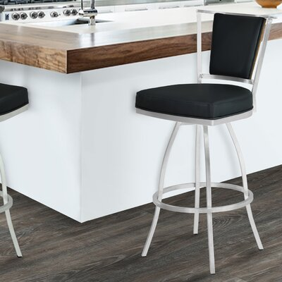 Borrelli 30 Swivel Bar Stool Upholstery: Black