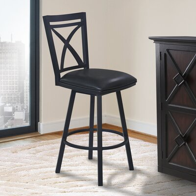 Ramon 26 Swivel Bar Stool with Cushion Finish: Black