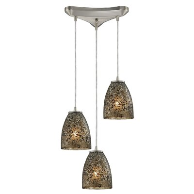 Lucy 3-Light Glass Shade Kitchen Island Pendant Finish: Smoke