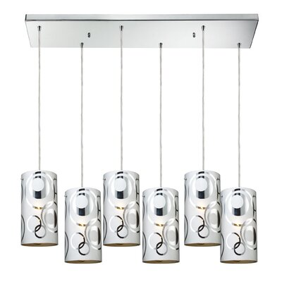 David 6-Light Cylindrical Shade Kitchen Island Pendant