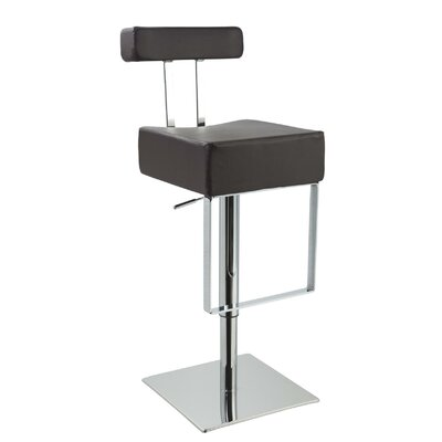 Clower Modern Adjustable Height Upholstered Swivel Bar Stool Upholstery: Black